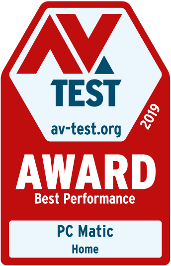 AV-TEST Award - Best Performance - PC Matic